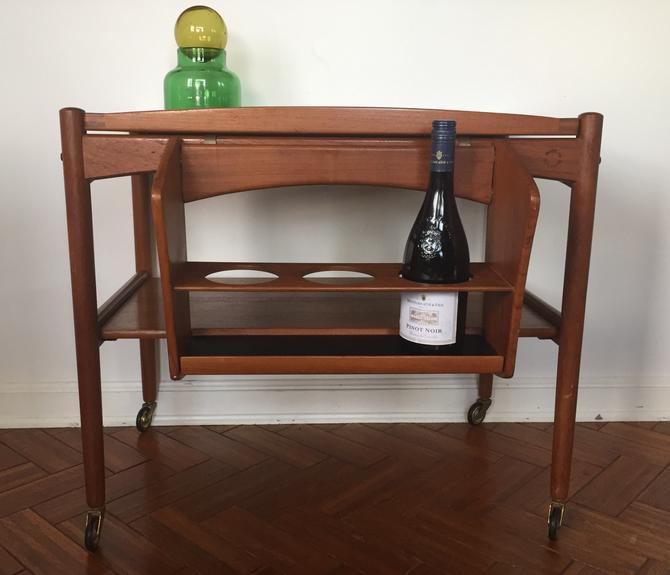 Vintage Danish Modern Teak Rolling Bar Cart with Removable Tray and Bottle Caddy