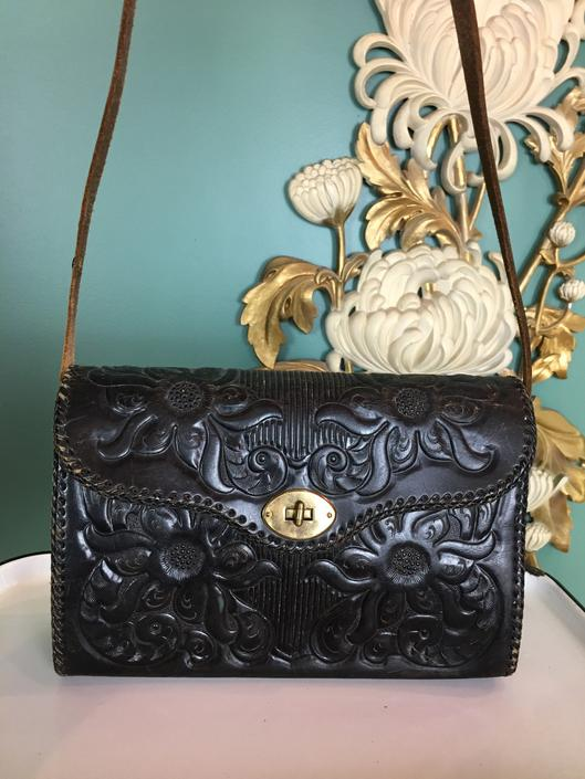 1940s shoulder bag, vintage purse, black tooled leather, rockabilly style, vlv, southwestern purse, 1940s purse, 40s accessories by BlackLabelVintageWA
