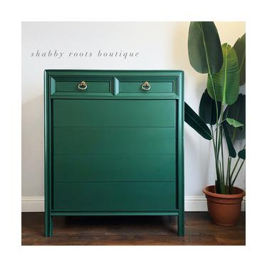NEW! Emerald Green Tall dresser chest of drawers vintage Mid Century Modern bureau by Basic Witz - San Francisco CA by ShabbyRootsBoutique