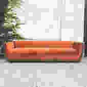 Vintage deep orange velvet sofa