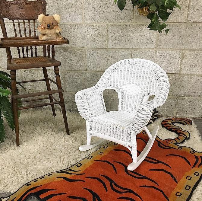 LOCAL PICKUP ONLY Vintage Kids Rocking Chair Retro 1980s White Woven Wicker Bohemian Rocker Small Moving Chair for Children by RetrospectVintage215
