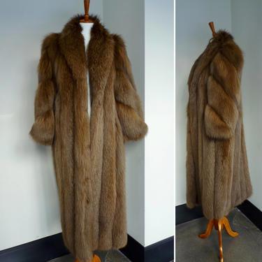 Vintage 80s full length RARE brown fox fur jacket size small/medium by LavenderJosephine
