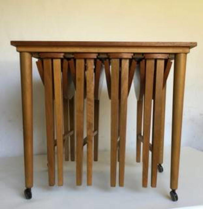 Vintage Wood Rolling Danish Scandinavian Nesting Tables Set of 5, 4 Nest, Bar Cart, Trolley SEE SHIPPING DESCRIPTION by RedsRustyRelics