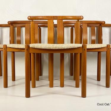 Set of 6 Curved Back Teak Dining Chairs by Edvard Valentinsen of Denmark, Circa 1960s - *Please ask for a shipping quote before you buy. by CoolCatVintagePA