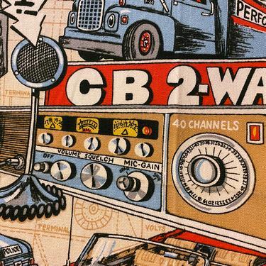 RARE! Vintage 70s CB Radio Fabric • Cadillac • Cassette Tape Police Fireman Fire Fighter Big Rig Truck Trucker Novelty Print • Kids Man Cave by elliemayhems