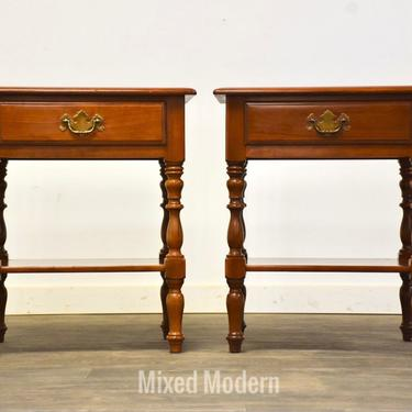 Traditional Cherry Vintage Nightstands- a Pair by mixedmodern1