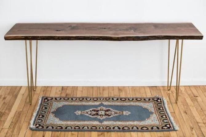 Live Edge Sofa Table   Modern Farmhouse Console Table   Scandinavian Style EntrywayTable - Black Walnut by StocktonHeritage