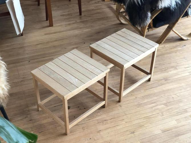 Pair of White Oak Side Tables / Stools by Kurt Ostervig