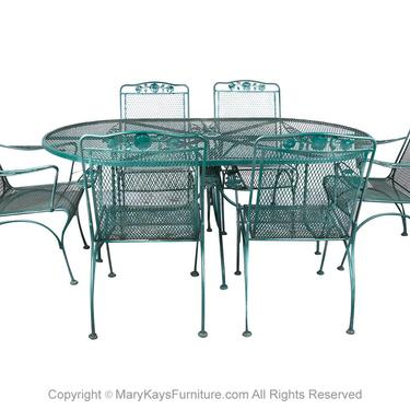 Salterini Style Mid Century Green Wrought Iron Patio Set by Marykaysfurniture