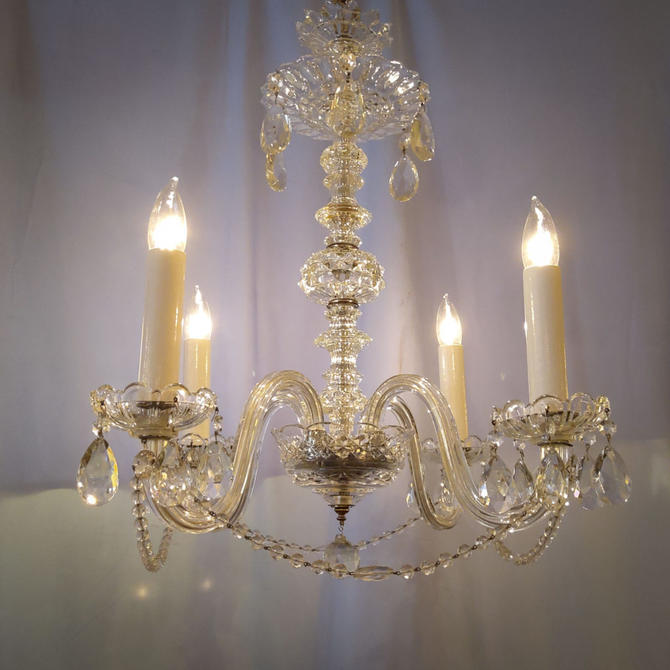 1940s-1950s Crystal Chandelier