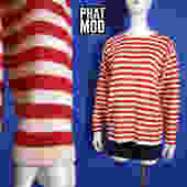 Comfy Nautical Vintage 90s Red & White Stripe Oversized Gap Sweater by RETMOD