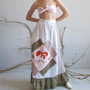 white calico patchwork maxi skirt / XS S by EELT