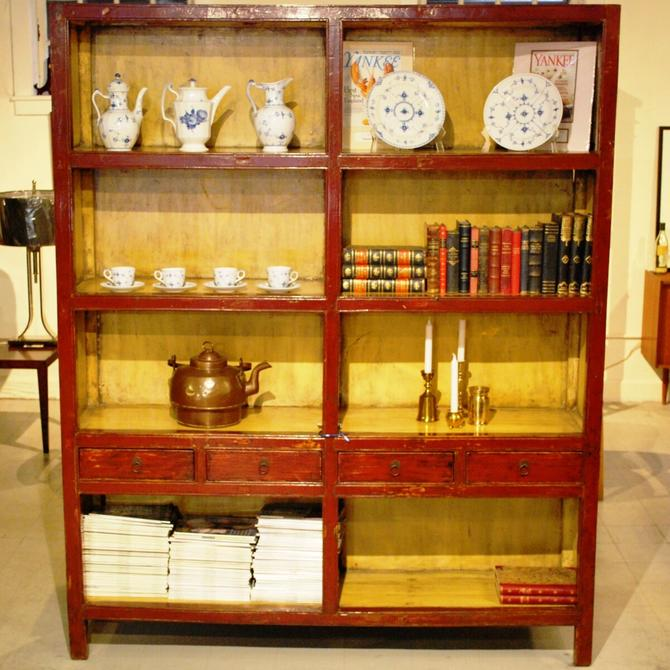 91008 Antique Chinese Red and White Lacquered Display \/ Bookcase from Henan Province, circa 1870