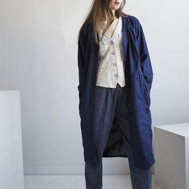 Calvin Klein dark blue denim dress duster coat / size S M by EELT
