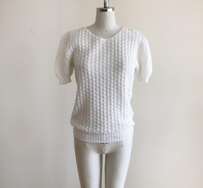 Short-Sleeved White Sweater - 1980s by LogansClothing
