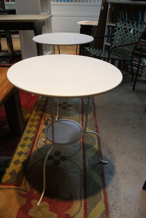 White metal cafe tables. Two available. $75/each.