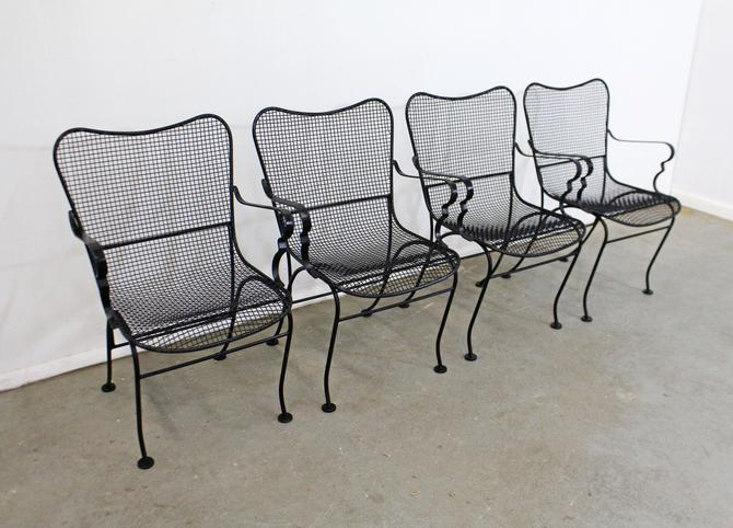 Set of 4 Mid-Century Modern Sculptural Mesh Wire Metal Outdoor Arm Chairs by AnnexMarketplace