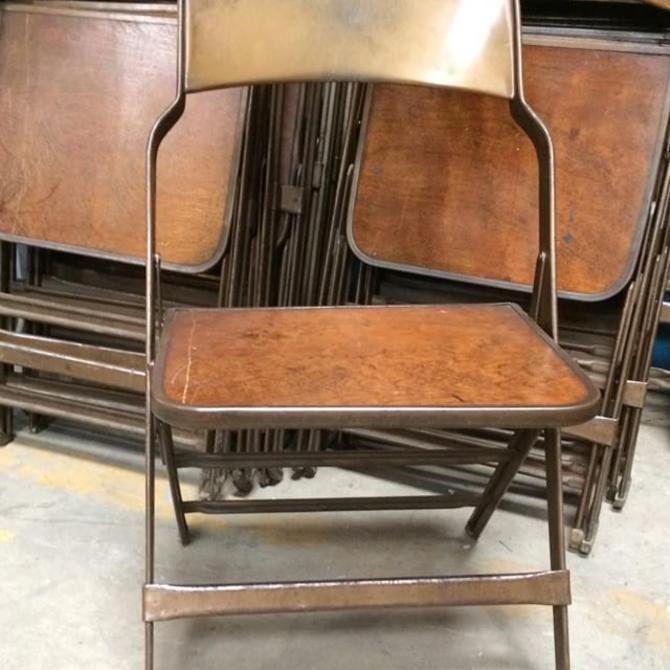 Surprising Vintage Clarin Manufacturing Metal Folding Chair With Wood Seat Very Industrial And Comfy We Have 18 Of Them Bralicious Painted Fabric Chair Ideas Braliciousco