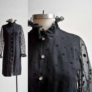 60s Black Polka Dot Cocktail Dress by milkandice