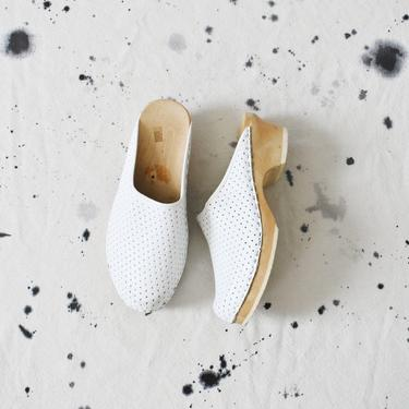 vintage white swedish wooden clogs, size 40 by ImprovGoods