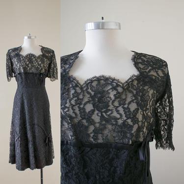 Black Lace Vintage Cocktail Dress / 1940s Cocktail Dress / Vintage Little Black Dress / 1940s Formal Dress / Plus Size 40s Vintage Dress by milkandice