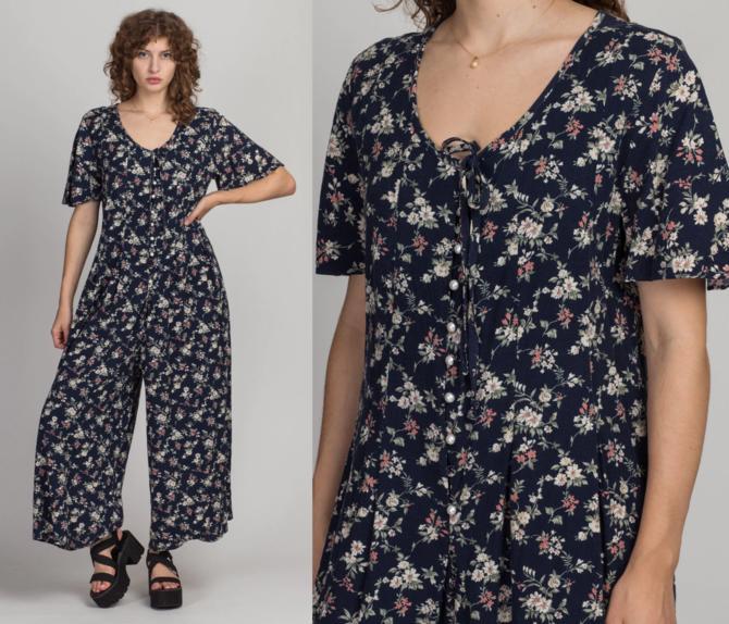 90s Boho Floral Pearl Button Jumpsuit - Large | Vintage Navy Blue Grunge Summer Pantsuit by FlyingAppleVintage