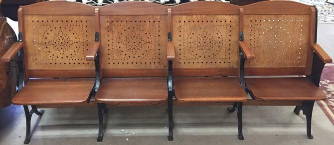 Antique Folding Theater Seats | Wood and Cast Iron w/Hat Racks | Row of 4