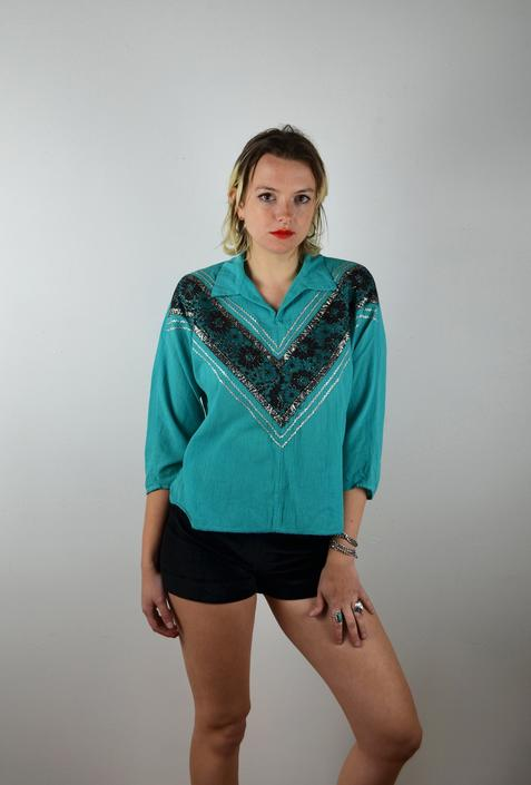 Vintage 50s Patio Dress Blouse / 1950s Mexican Top / Native American Fiesta /Medium Large Rockabilly Turquoise Silver Black VLV Pin Up 1950s by ErraticStaticVintage