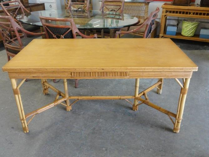 50's Old Florida Style Bamboo Table