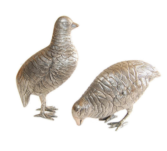 PAIR Pewter Grouse Vintage Bird Figurines Collectibles Home Decor by  Curiopolis