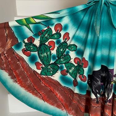 Gorgeous and Bold 1950s Mexican Tourist Skirt Cactus Agave Rustic Scene Vintage 30 Bust by AmalgamatedShop