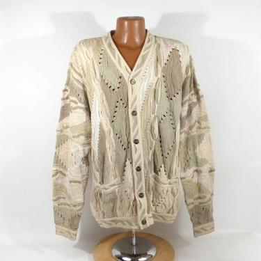 Coogi Sweater Jumper Vintage 1990s Cream Coogi Cardigan Sweater Men's Size L by purevintageclothing