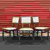Mid Century Stakmore White Vinyl Folding Chairs