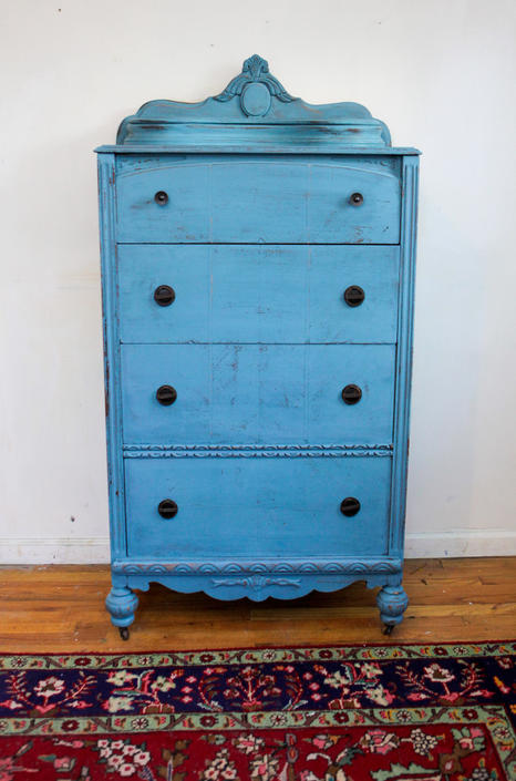 Antique Dresser, Vintage Dresser, Blue Dresser, Highboy, Chest of Drawers, Distressed / Shabby chic Dresser, Free NYC Delivery by AntiqueBoutiqueNYC