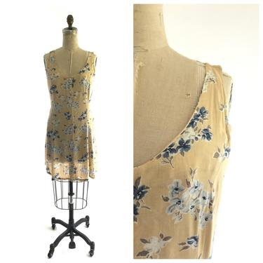 90s yellow floral dress by harlowandspring