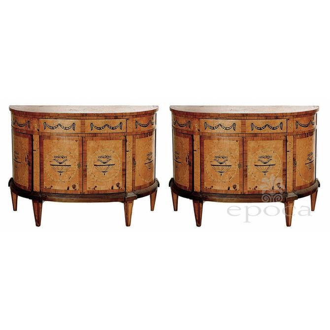 A Handsome Pair of Baltic Neoclassical Style Marquetry Inlaid Birch and Walnut Demilune Commodes.
