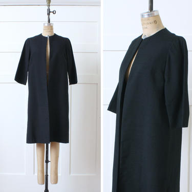 vintage early 1960s black dress coat • minimalist open fit lightweight clutch coat with 3/4 sleeves by LivingThreadsVintage