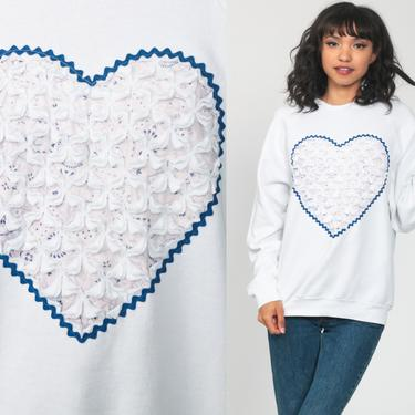 Heart Sweatshirt Print White Sweater Raglan Sleeve 80s Novelty Slouchy Love Ric Rac Kitsch Pullover 1980s Blue Slouch Top Medium Large by ShopExile