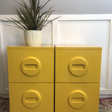 Akro-Mils Storage Filing Cabinets Pair Yellow Molded Plastic Office Furniture, Mid Century Yellow Plastic File Cabinet - mcm by VintageCoreReStore