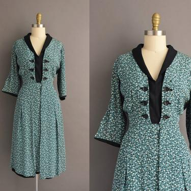 1940s vintage dress | Beautiful Rayon Print Turquoise & Black Cocktail Party Dress | Large | 40s dress by simplicityisbliss