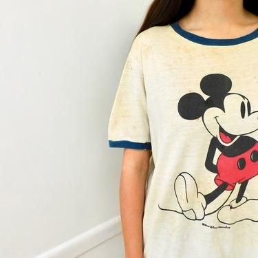 60s Mickey Ringer Tee // vintage mouse t-shirt boho hippie Disney World t shirt dress red blue white jersey cotton blouse 70s // O/S by FenixVintage
