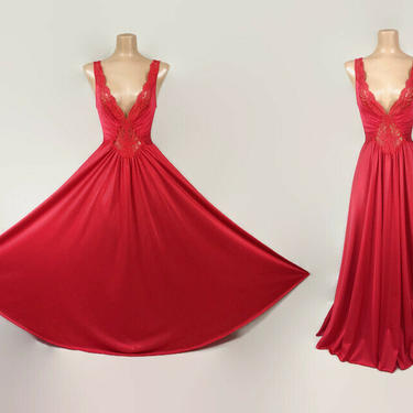 """VINTAGE 80s Rare OLGA Bright Red Nylon & Lace Grand Sweep Nightgown 