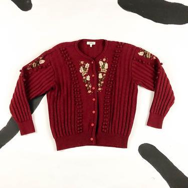 80s 90s Sentier Wool Princess Sleeve Cardigan / Burgundy / Oxblood / Floral / Flower Embroidery / Balls / Dots / 3d / Medium / Lolita / M by shoptrashdotnet