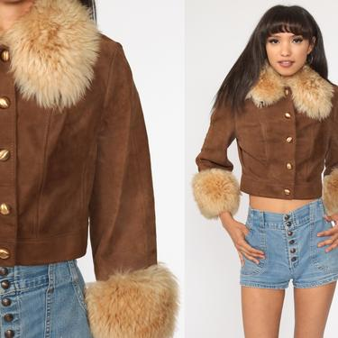Faux Fur Leather Jacket 70s Cropped Coat Brown Leather Hippie Jacket Boho 1970s Hipster Womens Bohemian Extra Small xs by ShopExile