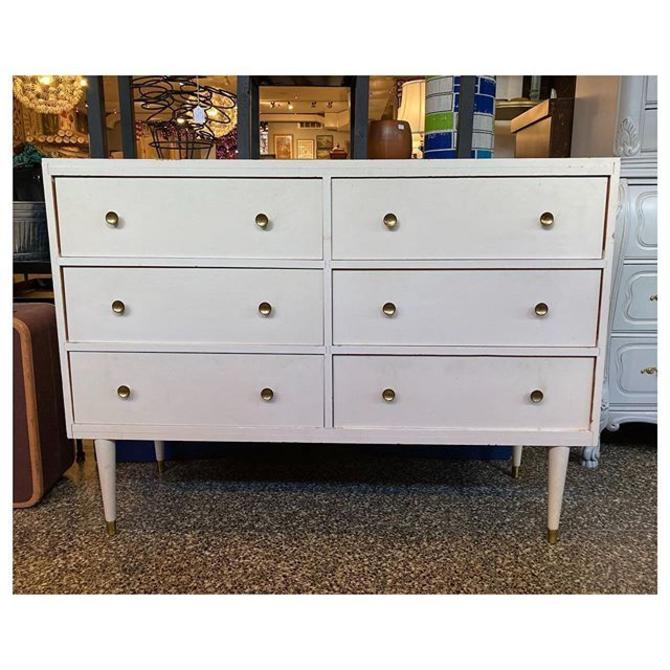 """Cream painted mid-century modern 6 drawers with brass knobs 48"""" length / 16"""" depth / 35"""" H"""