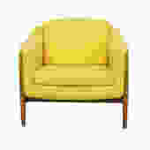 Scandinavian Modern Club Chair with Sunny Yellow Upholstery