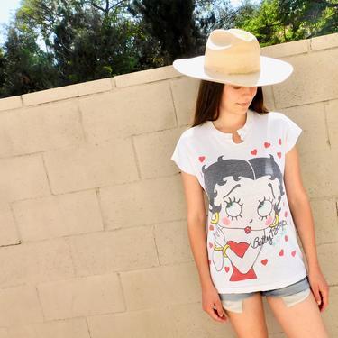 Betty Boop Shirt // vintage 80s cotton boho tee t-shirt t top heart hearts cartoon thin hippy // S/M by FenixVintage