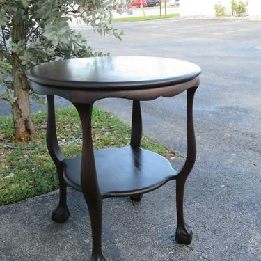Chippendale 1900s Mahogany Ball and Claw Feet Round Side Center Table 2453