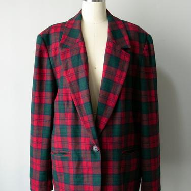 1990s Blazer Jacket Pendleton Plaid Wool XL by dejavintageboutique
