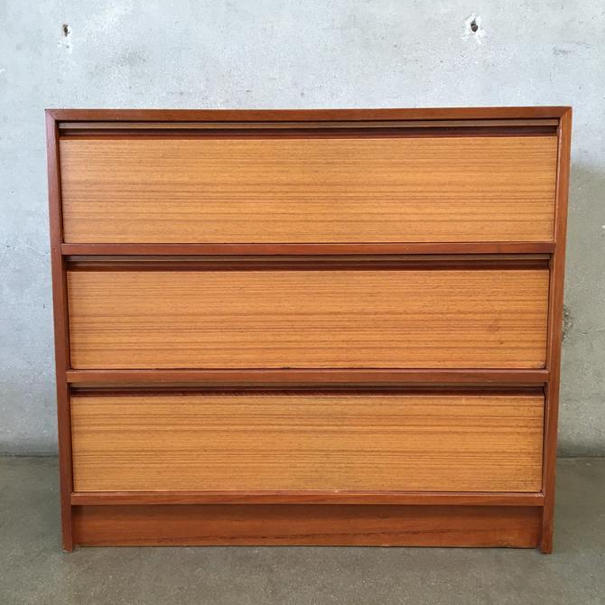 Mid Century Danish Teak Low Three Drawer Dresser